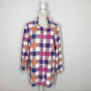 VINTAGE Crossroads plaid button up tunic shirt